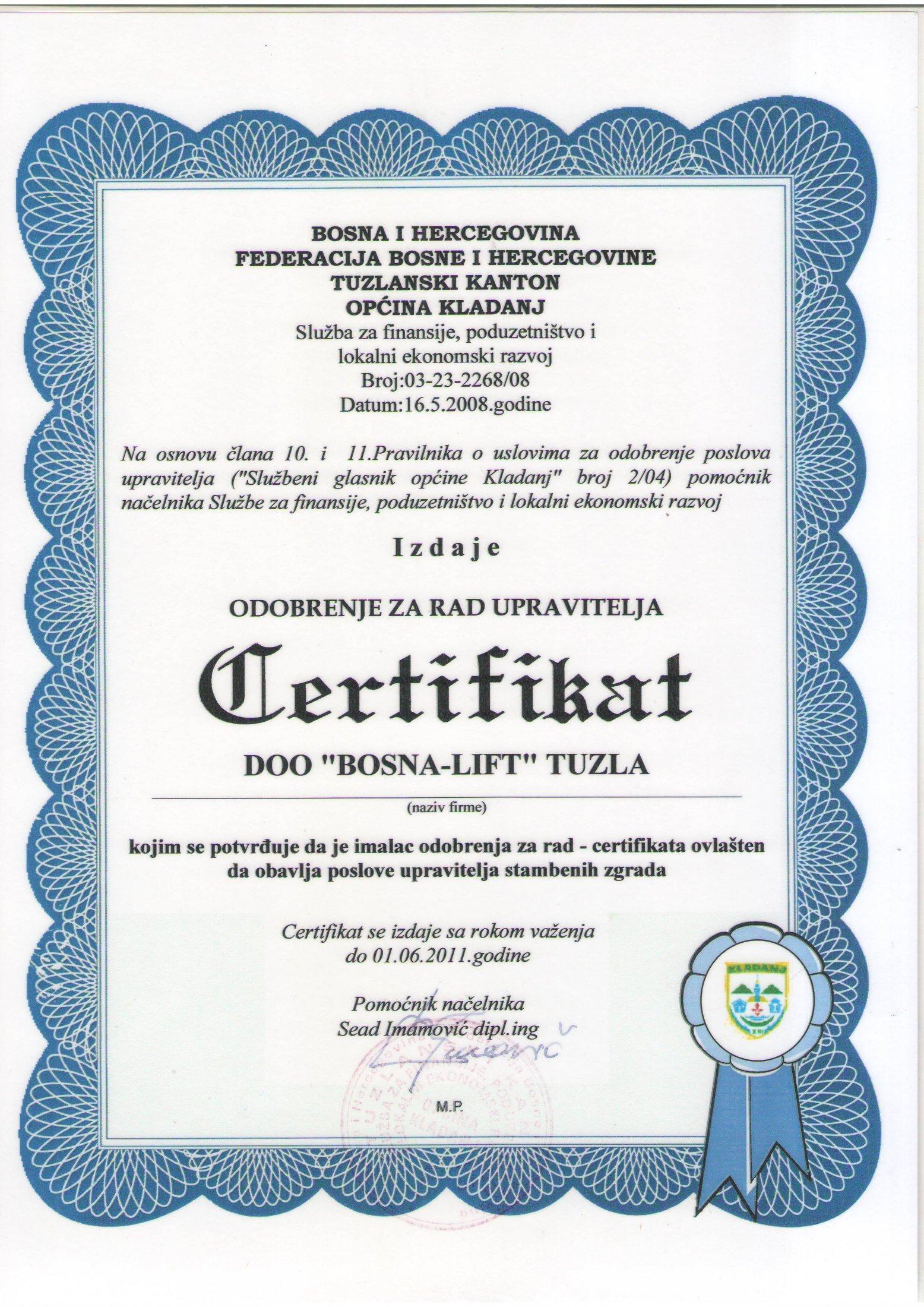 Certifikat - Općina Kladanj