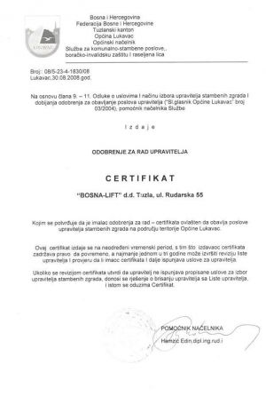 Certifikat - Općina Lukavac