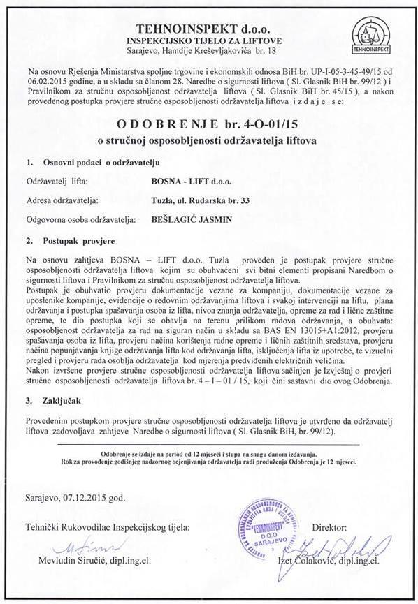 Certifikat - TEHNOINSPEKT d.o.o. Sarajevo