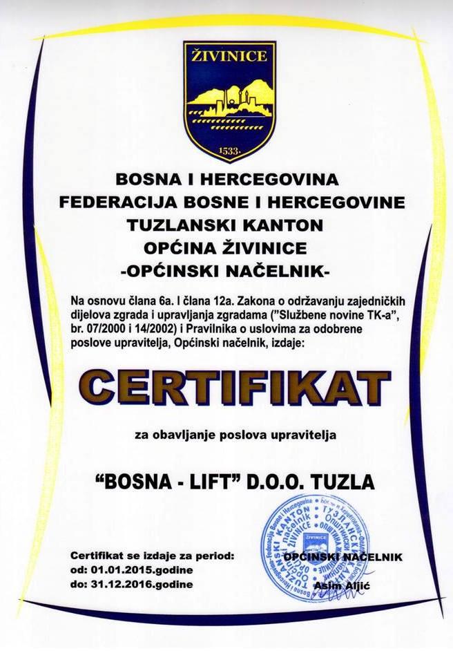 Certifikat - Općina Živinice