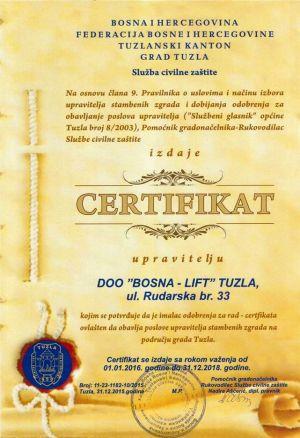 Certifikat - Grad Tuzla